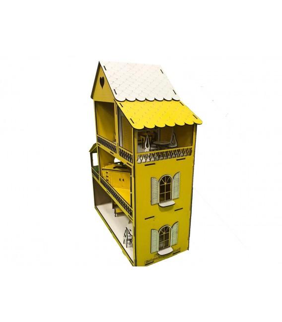 Ahşap Sarı Lol Bebek Oyun Evi