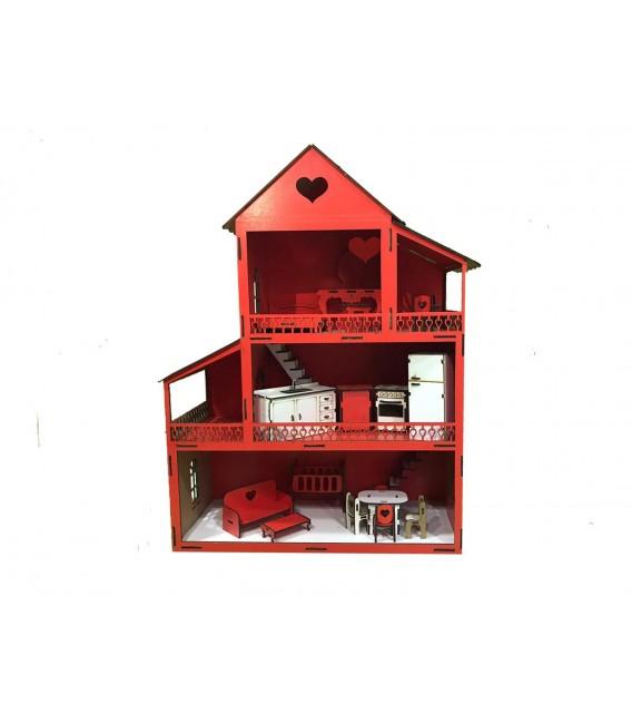Ahşap Kırmızı Lol Bebek Oyun Evi