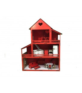Wooden Red Lol Doll Playhouse