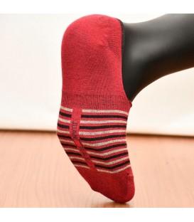 Kırmızı Dikişsiz Babet Çorap Silikon Destekli