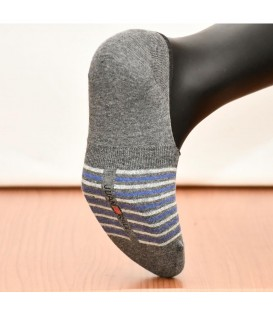 Gray White Striped Seamless Ballet Socks Silicone Supported