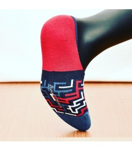 Red Labyrinth Seamless Ballet Socks Silicone Supported