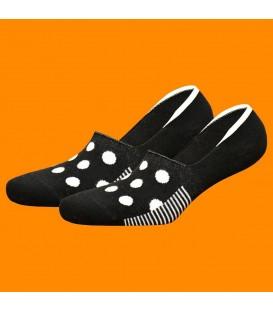 Siyah Beyaz Dikişsiz Babet Çorap Silikon Destekli