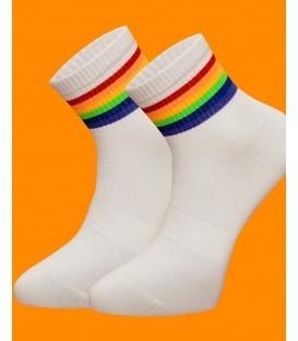 Beyaz Renk Renkli Çizgili Erkek Tenis Çorap