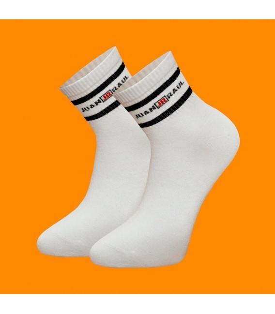 Beyaz Renk Siyah Çizgili Erkek Tenis Çorap