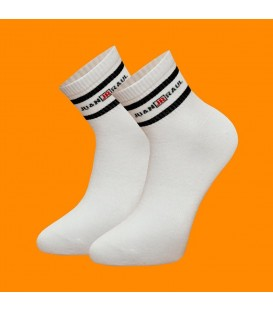 White Color Black Striped Men's Tennis Socks