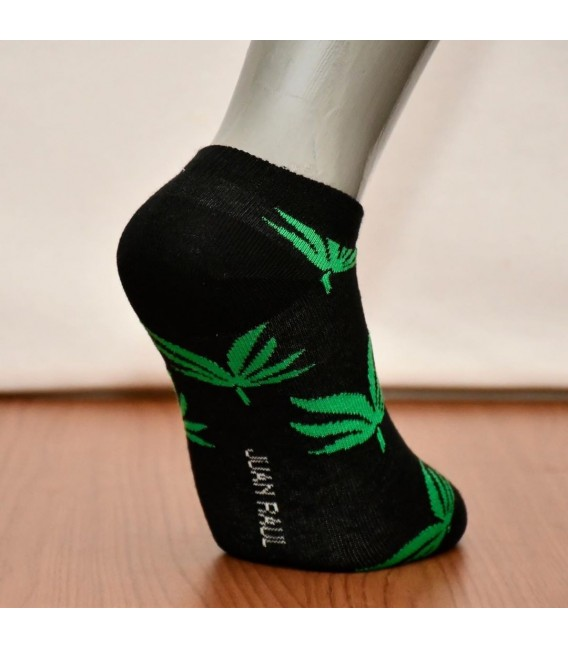 Siyah Ağaç Yaprklı Babet Çorap